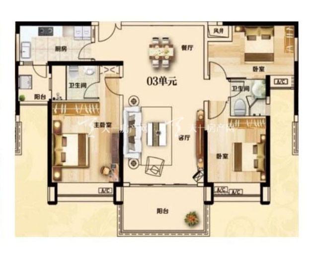 合生君景湾132㎡ 3室2厅2卫