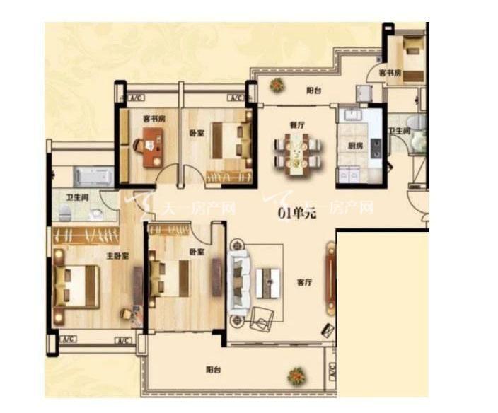 合生君景湾174㎡ 4室2厅2卫