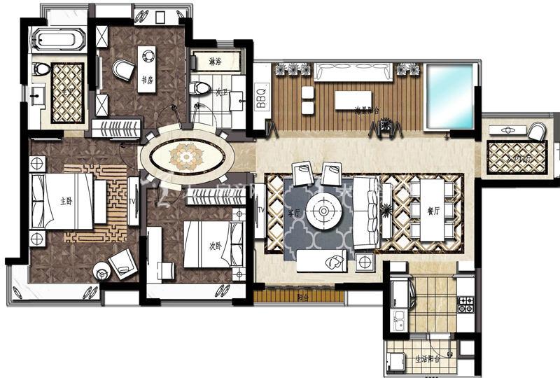大华锦绣海岸大华·锦绣海岸135平米户型3室2厅2卫1厨135.00㎡