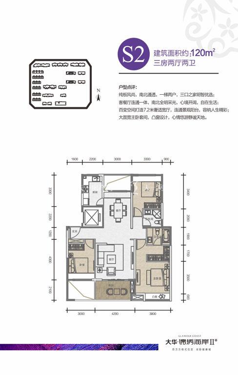 大华锦绣海岸 户型S2三房两厅两卫120㎡
