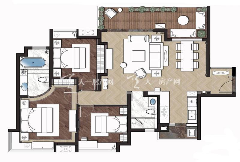 大华锦绣海岸大华·锦绣海岸110平米户型3室2厅2卫1厨110㎡
