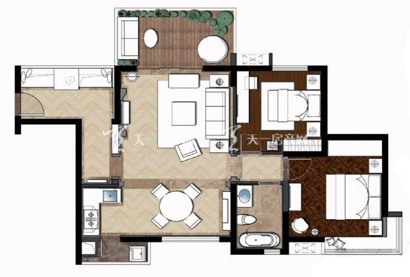大华锦绣海岸大华·锦绣海岸95平米户型2室2厅1卫1厨95.00㎡