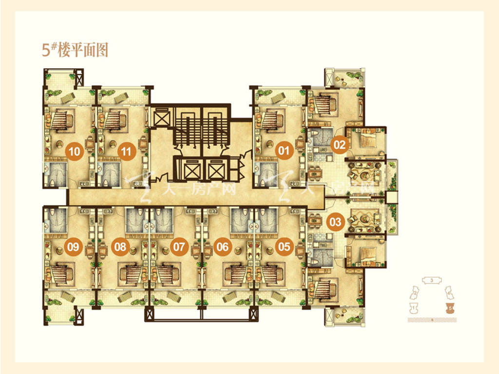 海航男爵公馆 5号楼平面图-海航男爵公馆