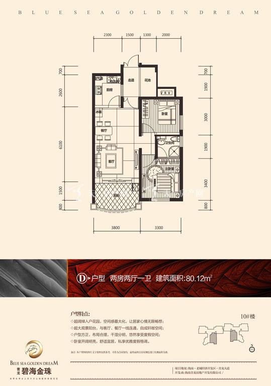 碧海金珠户型单张-10#楼D户型80.12㎡