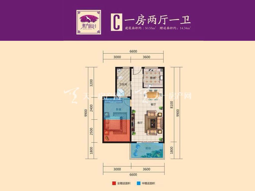 东方假日 东方假日C户型图 1室2厅1卫  建筑面积50.55㎡