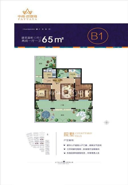 中南芭提雅中南芭提-户型图-院墅B1-两房一厅一卫建筑面积65㎡