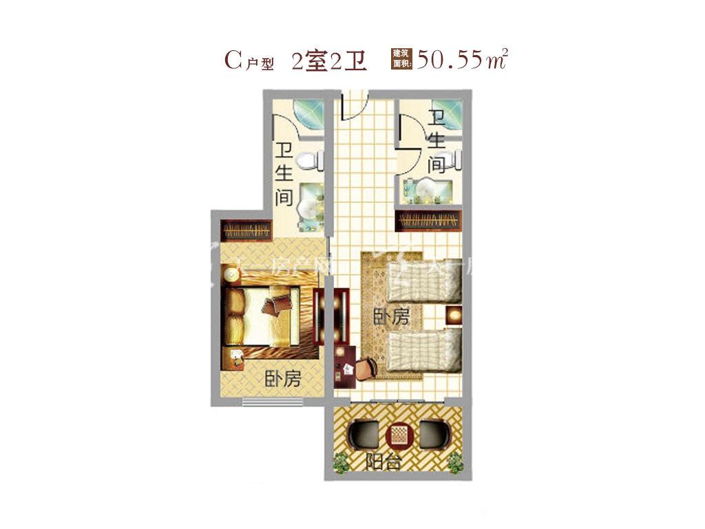 东方假日 东方假日产权式酒店C户型 2室2卫  建筑面积50.55㎡
