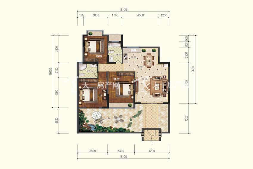 双龙苑 B1户型,3室2厅2卫,建筑面积约107.09平米.jpg
