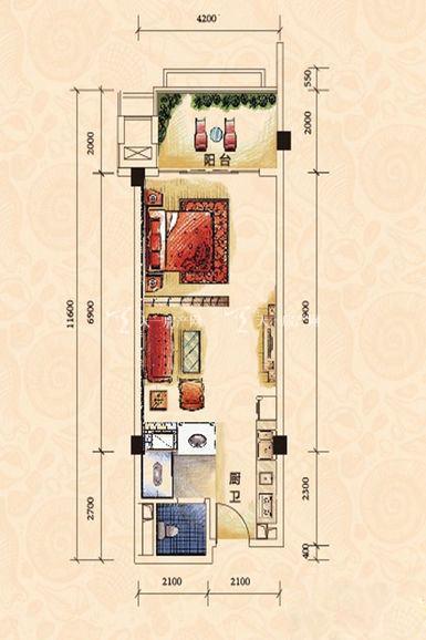 碧桂园金沙滩一期海景洋房J623-A户型1室0厅1厨1卫62.84㎡.j