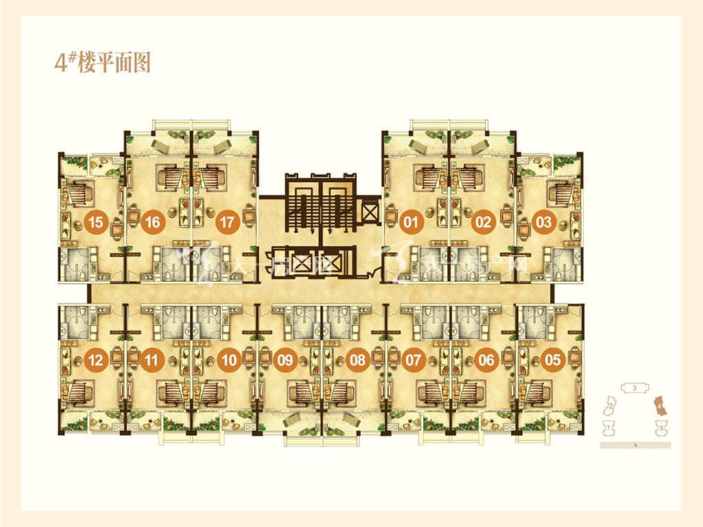 海航男爵公馆 4号楼平面图-海航男爵公馆