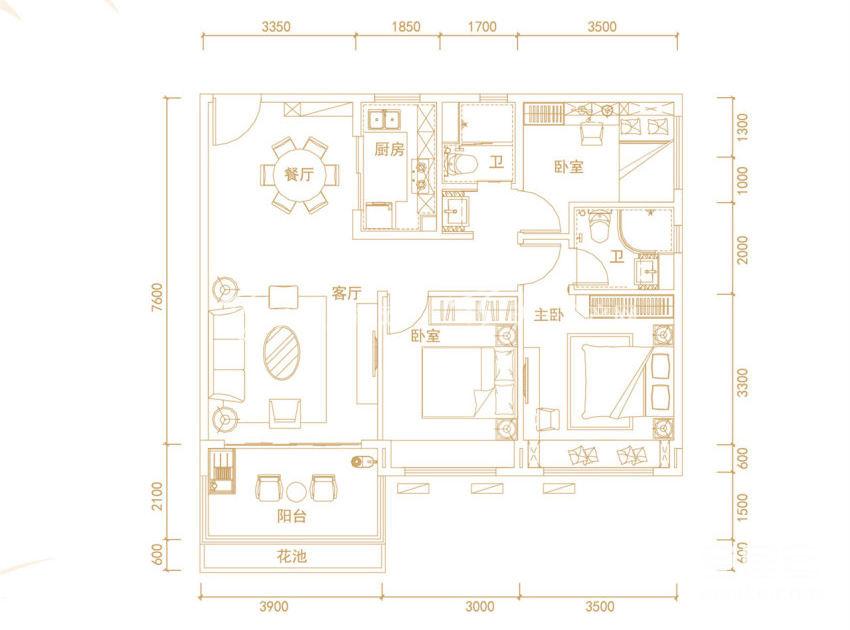 碧桂园齐瓦颂 悦海公寓Y203-C, 3室2厅2卫, 建筑面积约101㎡