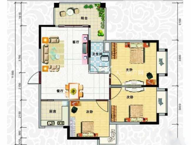 天龙佳园 3室2厅1卫1厨建筑面积91.08㎡.jpg