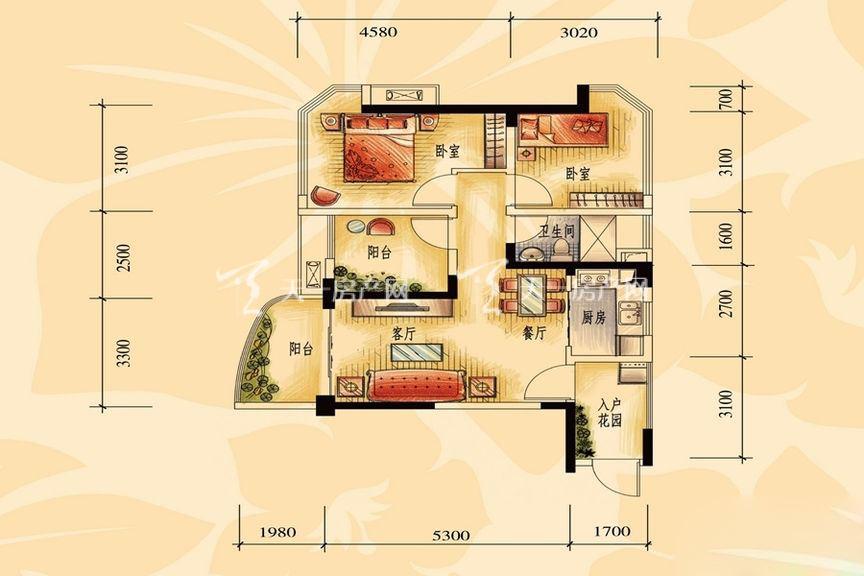碧桂园金沙滩一期商业街洋房J606-A户型 2室2厅1厨1卫80.04㎡