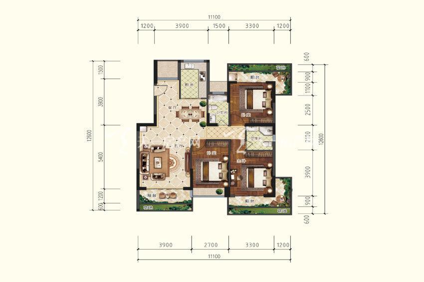 双龙苑 B5户型,3室2厅2卫,建筑面积约119.44平米.jpg