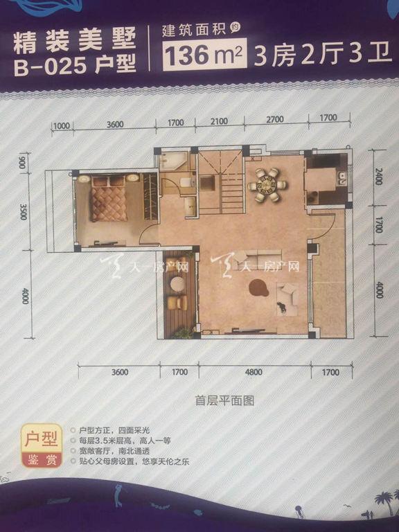 碧桂园金沙滩 碧桂园金沙滩精装美墅B-025户型首层3房2厅3卫136㎡