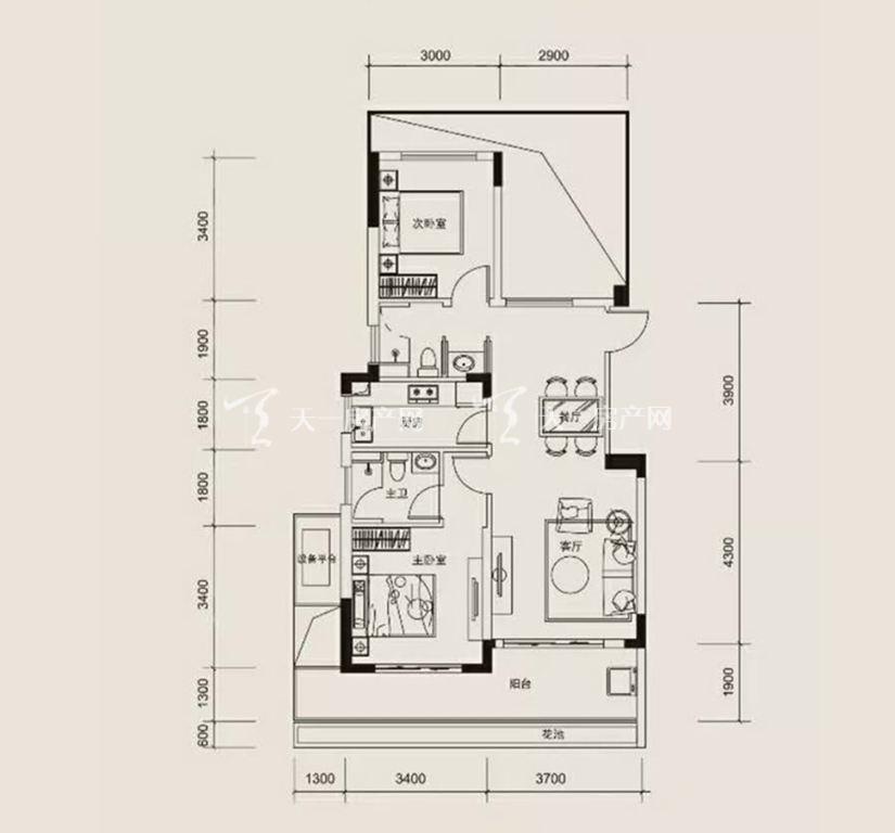红塘湾鲁能公馆 C户型,2室2厅2卫1厨,建筑面积约95.00平米.jpg