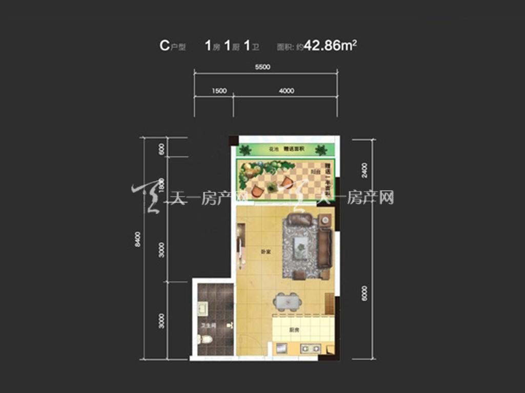 东方蓝城一号 1室1卫1厨  建筑面积42.86㎡