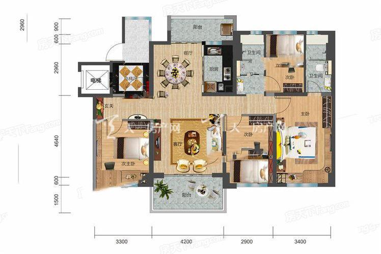 碧桂园剑桥郡4室2厅2卫1厨建筑面积:129.00㎡.jpg