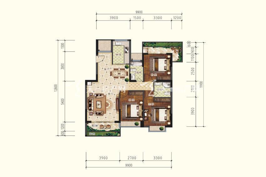 双龙苑 B4户型,3室2厅2卫,建筑面积约115.61平米.jpg