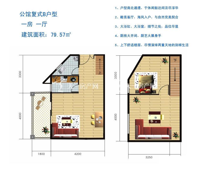 博鳌滨海小镇 公馆复式B户型-1房1厅1厨1卫79.57㎡.jpg