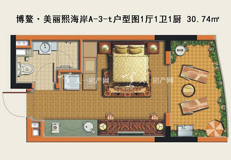博鳌美丽熙海岸 博鳌·美丽熙海岸A-3-t户型图1厅1卫1厨-30.74㎡