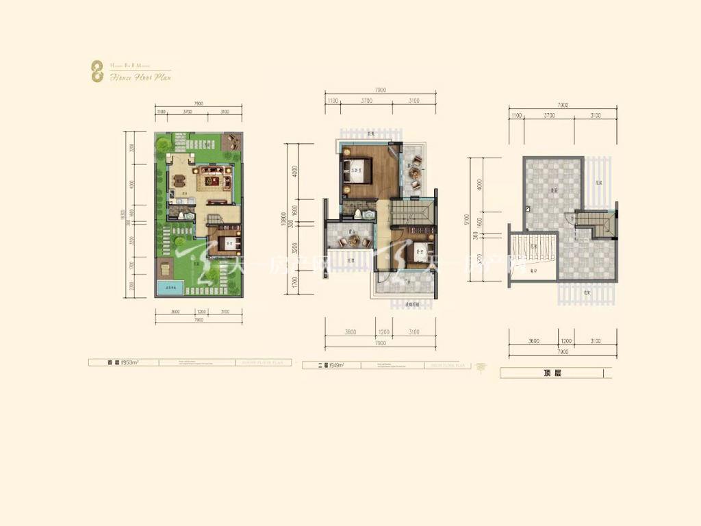 海棠湾8号 双拼别墅户型一层、二层、顶层 3室2厅2卫1厨.jpg