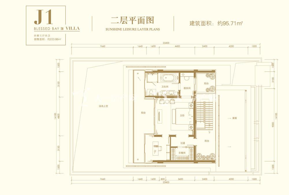 葛洲坝海棠福湾葛洲坝海棠福湾J1户型 4室3厅4卫 141㎡二层平面图