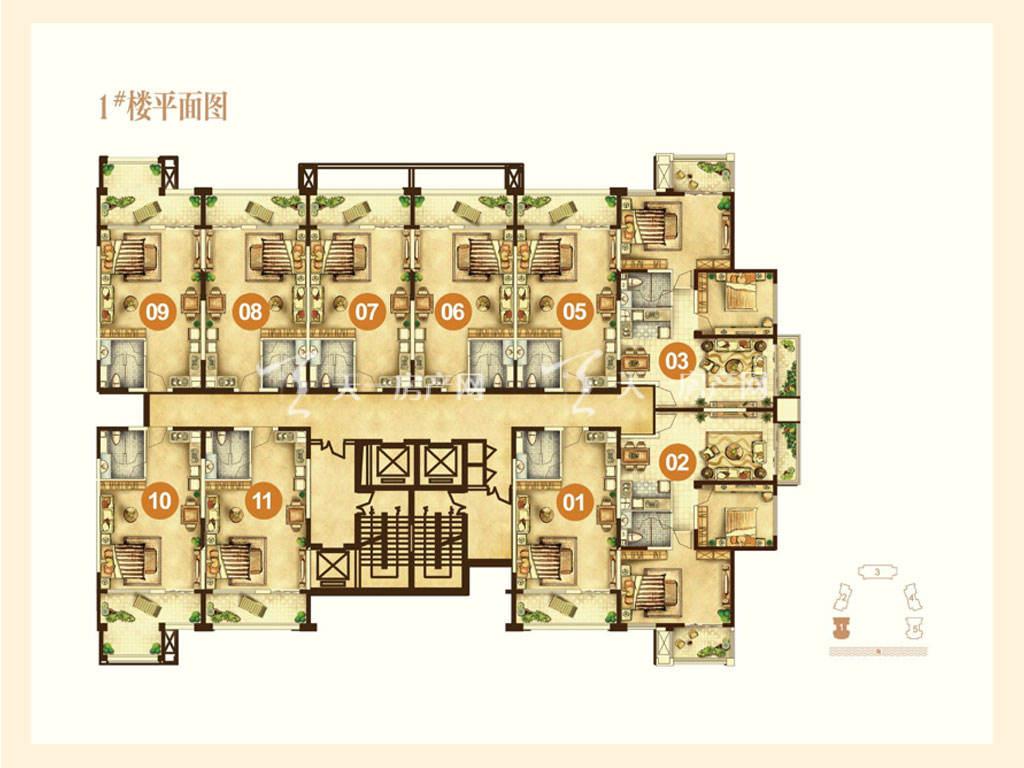 海航男爵公馆 1号楼平面图-海航男爵公馆