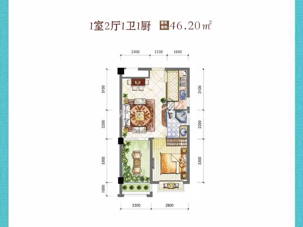 东方阳光海岸 1室2厅1卫1厨建筑面积:46.20㎡