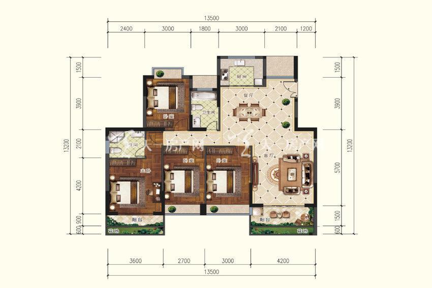 双龙苑 A3户型,4室2厅2卫,建筑面积约143.62平米.jpg