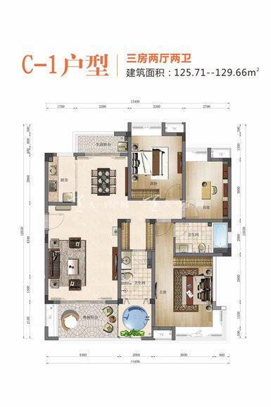 海棠湾龙棠大观 C-1户型3室2厅2卫1厨125.71㎡.jpg