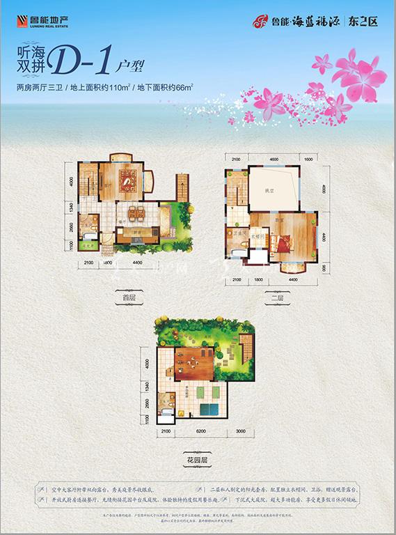 鲁能海蓝福源D-1户型两房两厅三卫建筑面积176㎡