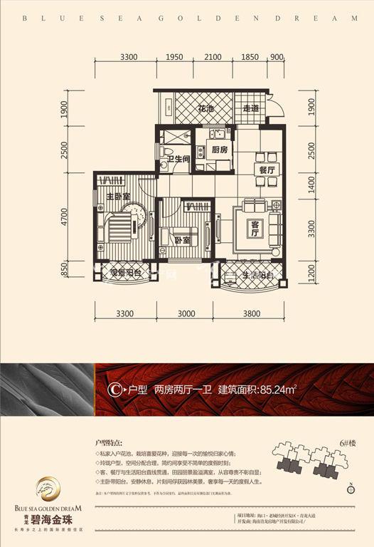 碧海金珠户型单张-6#楼C户型85.24㎡
