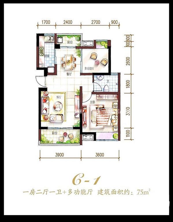 鲁能海蓝福源鲁能海蓝福源东3区公寓C-1户型1室2厅1卫1厨75.00㎡