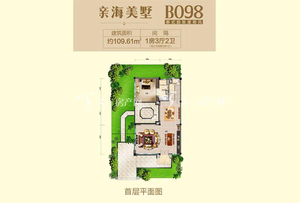 碧桂园东海岸亲海别墅B098户型首层1室3厅1厨2卫109.61㎡