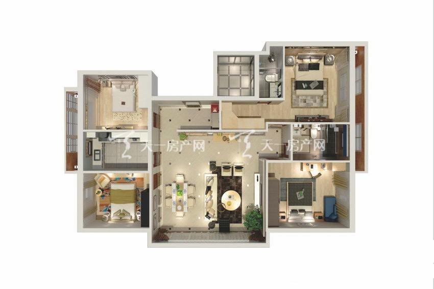 观澜湖观园 B户型,4室2厅2卫1厨,建筑面积约77.36平米