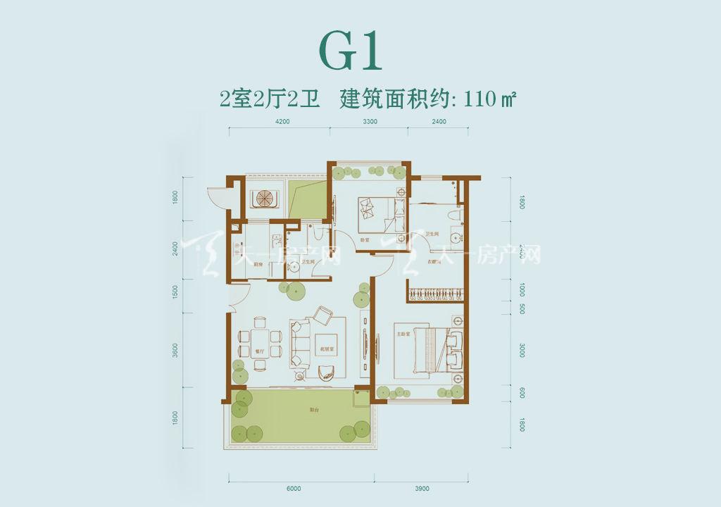 龙溪悦墅 龙溪悦墅G1户型-2室2厅2卫--建筑面积110㎡
