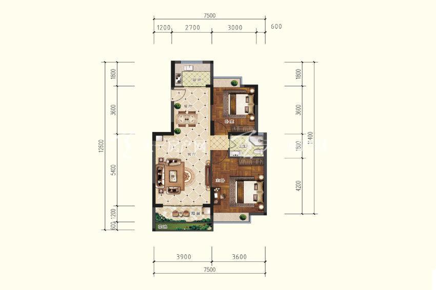 双龙苑 C户型,2室2厅1卫,建筑面积约86.99平米.jpg
