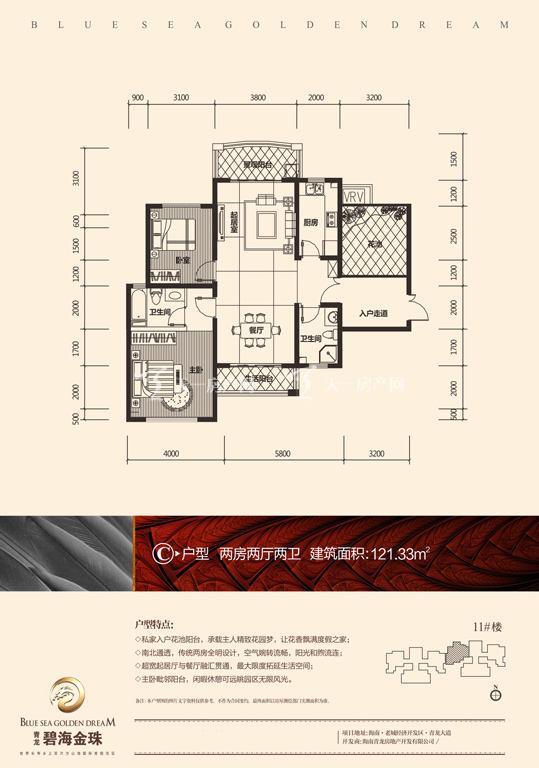 碧海金珠户型单张-11#楼C户型121.33㎡