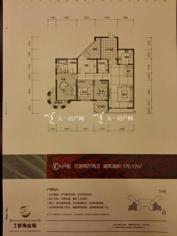 碧海金珠户型单张-7#楼C户型170.17㎡