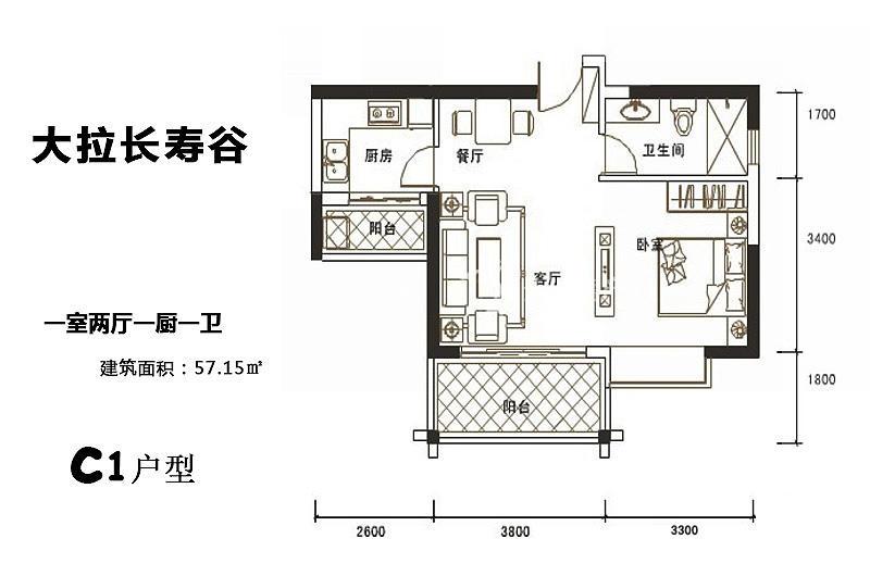 长寿谷金马花园C1户型1房1厅1卫1厨57.15㎡