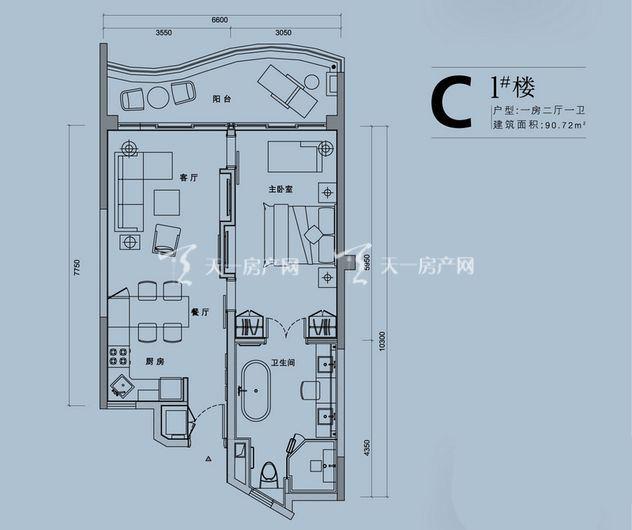 中海神州半岛 C1楼户型-一室二厅一卫-约90.72平方米.jpg