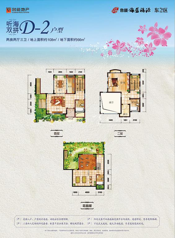 鲁能海蓝福源D-2户型两房两厅三卫建筑面积174㎡