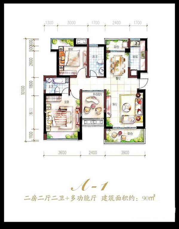 鲁能海蓝福源鲁能海蓝福源东3区公寓A-1户型2室2厅2卫1厨-90.00