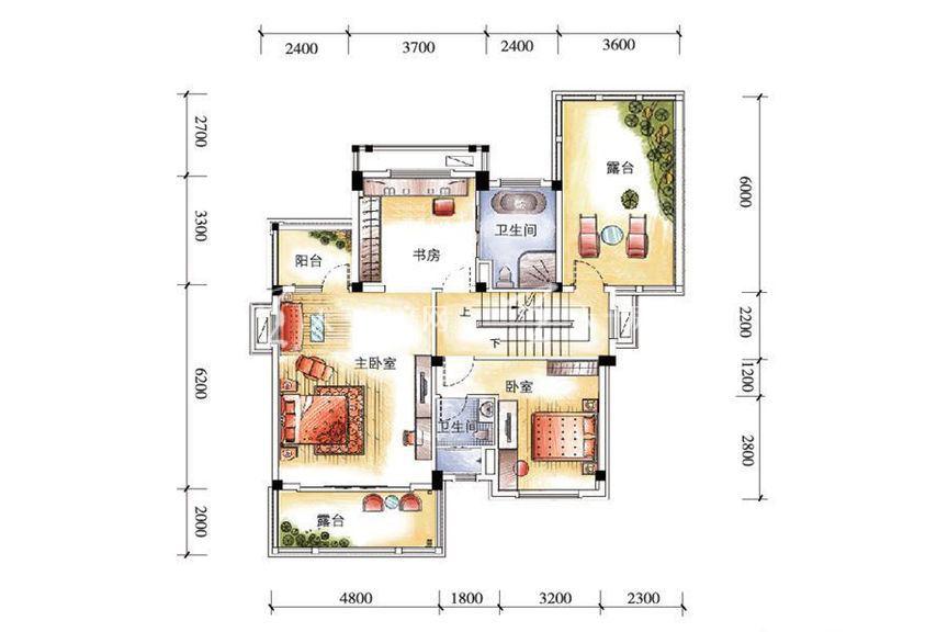 碧桂园金沙滩双拼G185户型二层5室2厅1厨4卫262.71㎡.jpg