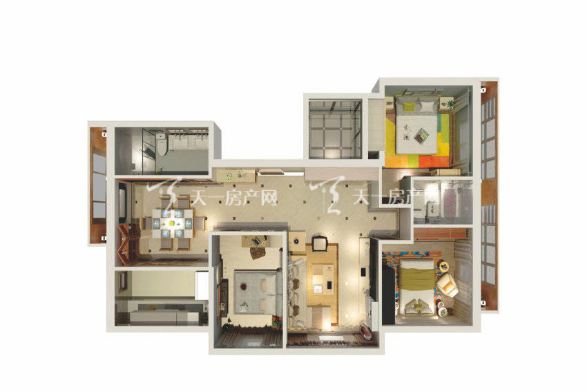观澜湖观园 A户型,3室2厅2卫1厨,建筑面积约76.82平米