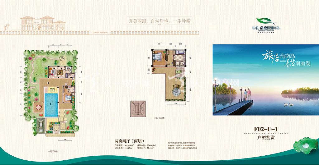 中铁诺德丽湖半岛F02-F-1户型两房两厅(两层)110.45㎡(建面)