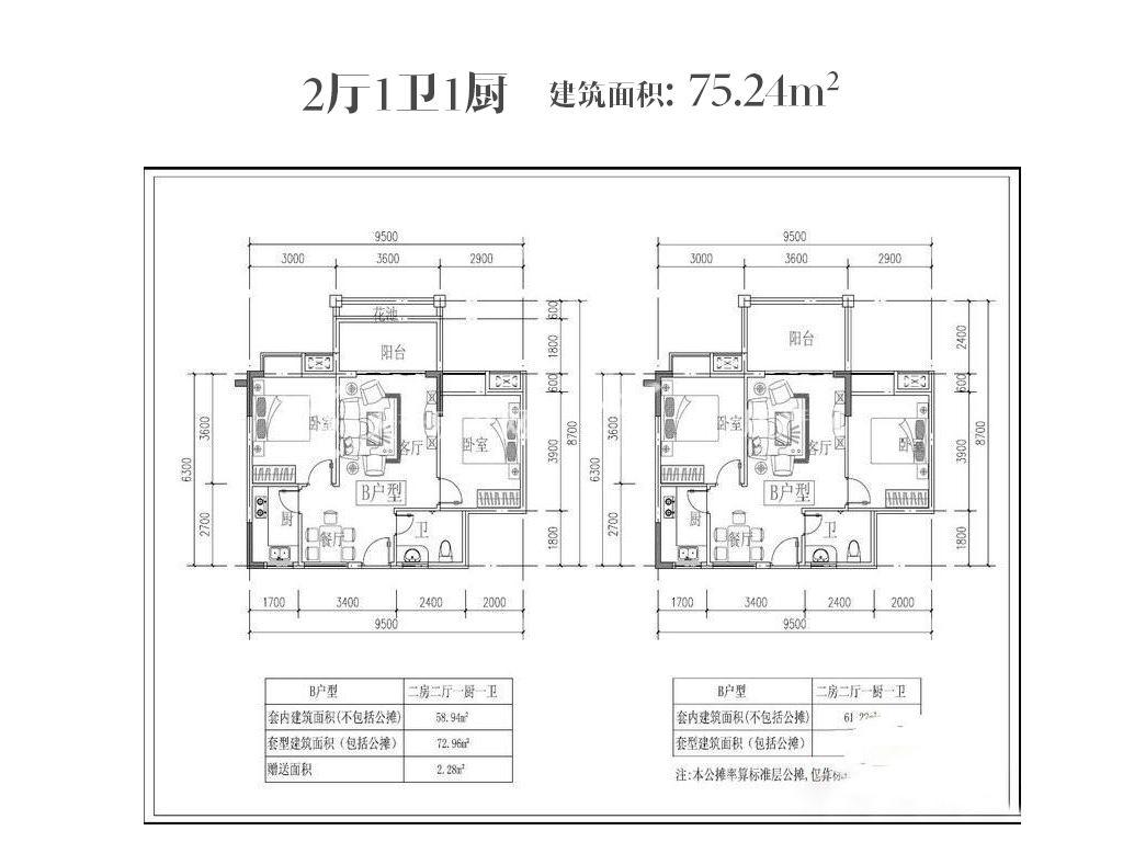 东方蓝城一号 2厅1卫1厨  建筑面积75.24㎡㎡