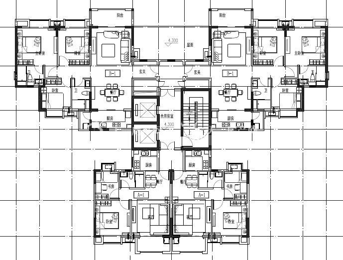 观澜湖中央公园区 3区楼栋平层图-1