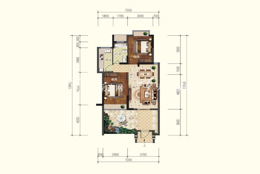 双龙苑 B0户型,2室2厅1卫,建筑面积约71.33平米.jpg